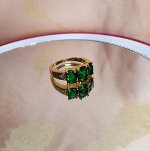 18kgf Simulated Emerald ring with small cz